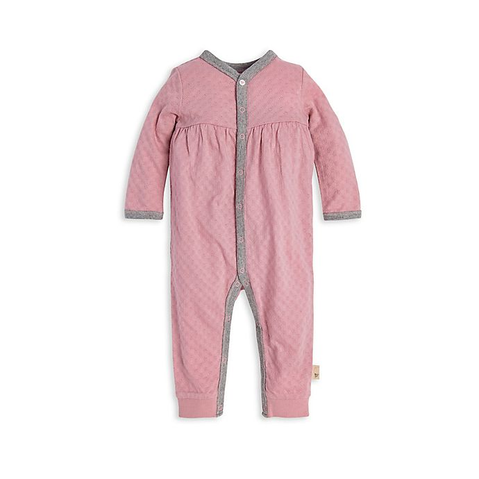 Alternate image 1 for Burt's Bees Baby® Honeycomb Pointelle Organic Cotton Jumpsuit in Persian Rose
