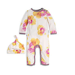 Burt's Bees Baby® 2-Piece Exploded Pansies Organic Cotton Coverall and Hat Set