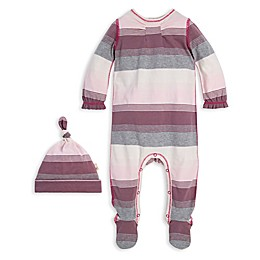 Burt's Bees Baby® 2-Piece Striped Organic Cotton Footie and Cap Set