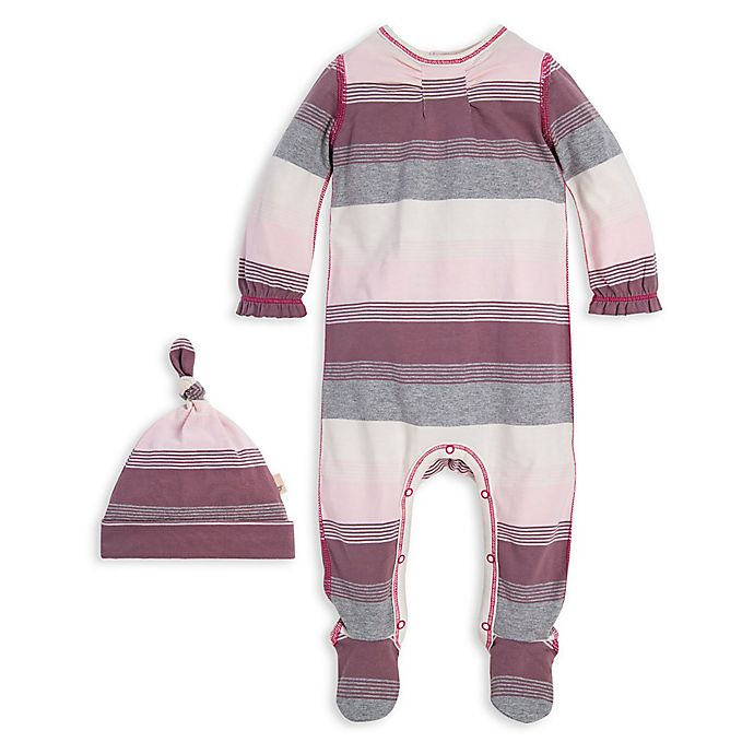 Alternate image 1 for Burt's Bees Baby® 2-Piece Striped Organic Cotton Footie and Cap Set