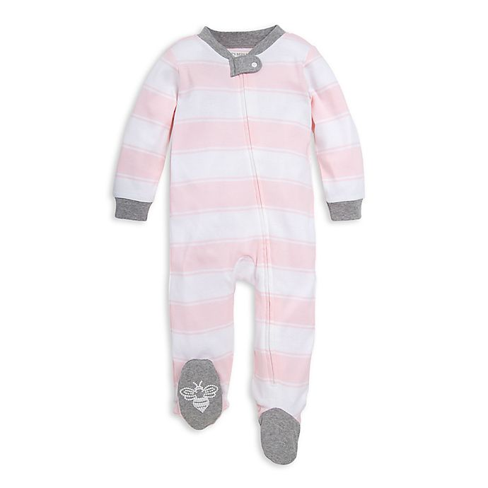 Alternate image 1 for Burt's Bees Baby® Rugby Stripe Organic Cotton Footed Pajama in Pink