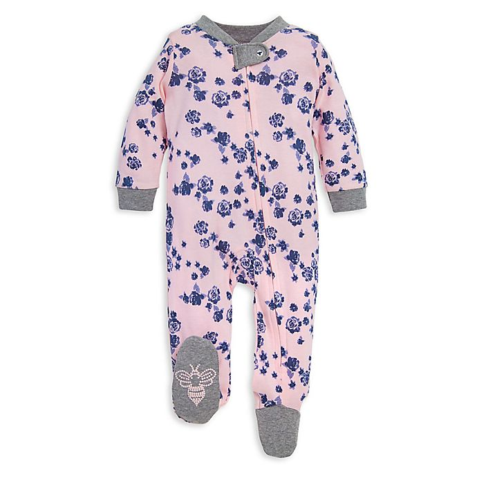 Alternate image 1 for Burt's Bees Baby® Indigo Flowers Organic Cotton Footie in Pink