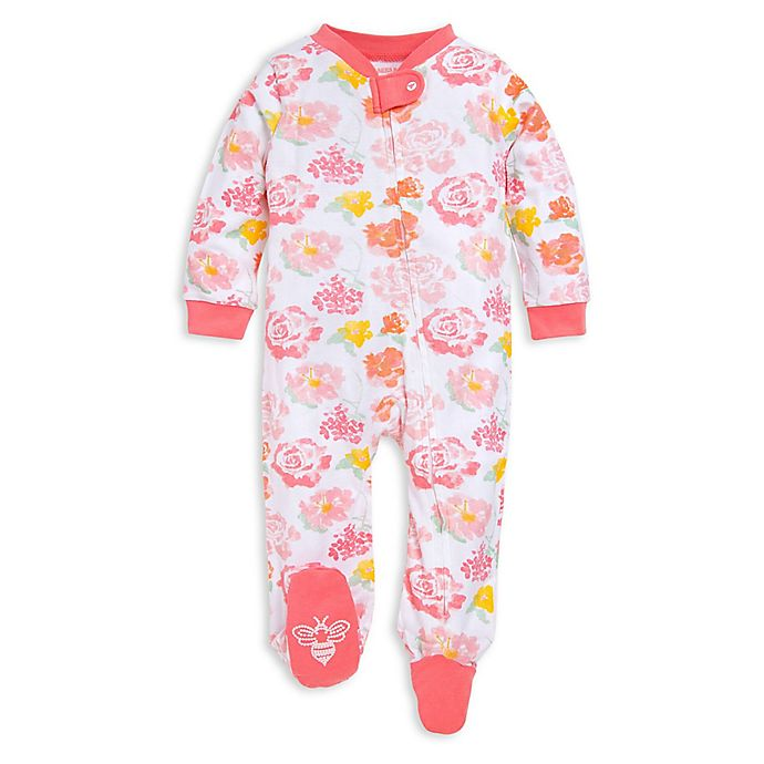 Alternate image 1 for Burt's Bees Baby® Rosy Spring Organic Cotton Footie in Pink