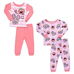 Sesame Street® 4-Piece Sweet Friends Toddler Pajama Set in Pink