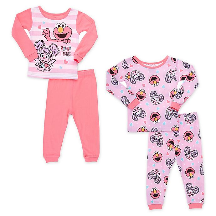 Alternate image 1 for Sesame Street® 4-Piece Sweet Friends Toddler Pajama Set in Pink