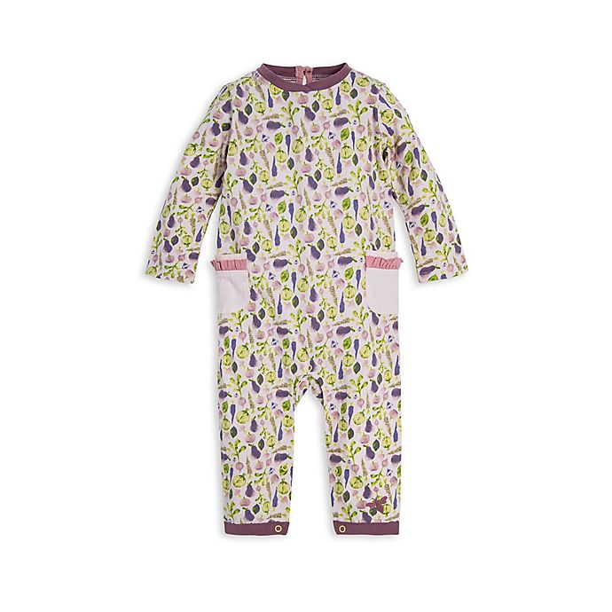 Alternate image 1 for Burt's Bees Baby® Organic Cotton Veggies Coverall in Pink