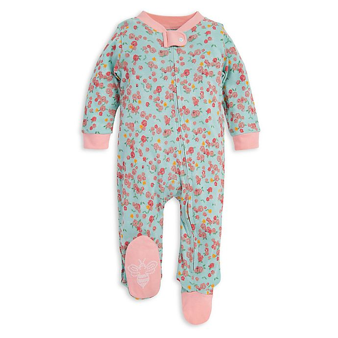 Alternate image 1 for Burt's Bees Baby® Ditsy Floral Organic Cotton Footie in Mint