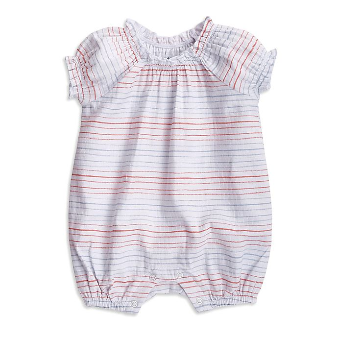 Alternate image 1 for aden + anais® Striped Short Sleeve Romper in Pink