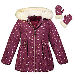 London Fog® Glitter Coat in Burgundy/Gold