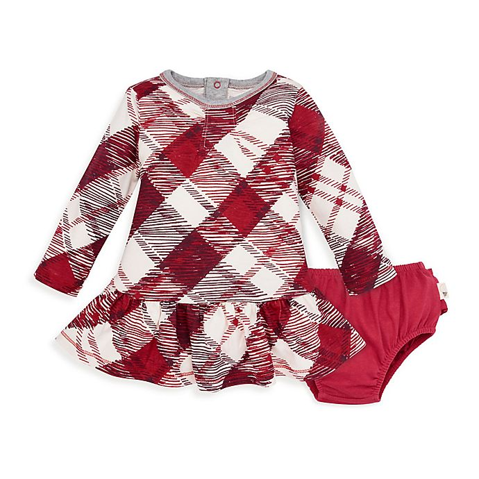 Alternate image 1 for Burt's Bees Baby® Very Merry Buffalo Check Organic Cotton Dress with Diaper Cover