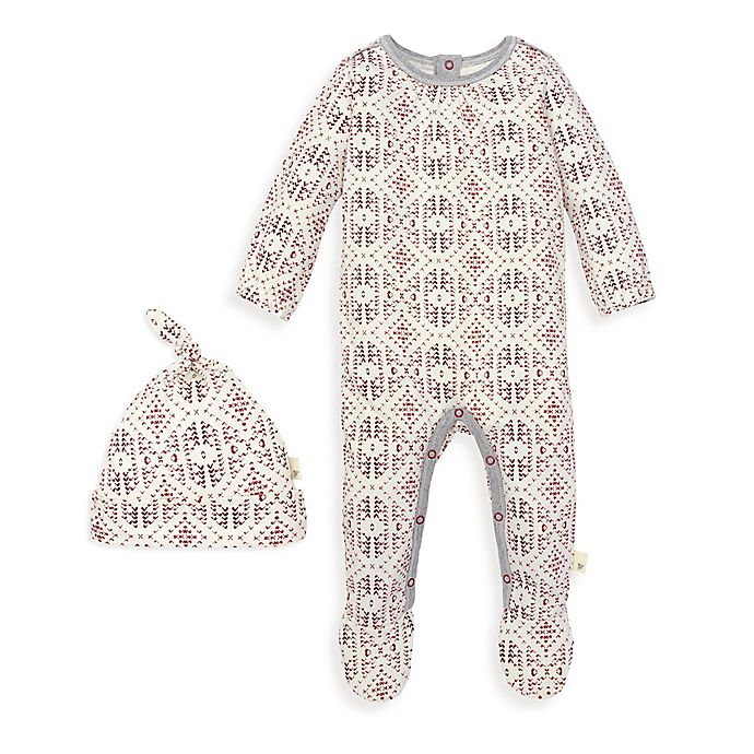 Alternate image 1 for Burt's Bees Baby® 2-Piece Joyful Fair Isle Organic Cotton Jumpsuit and Hat Set