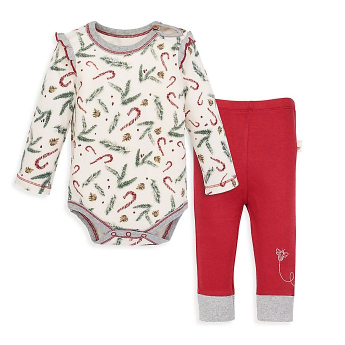 Alternate image 1 for Burt's Bees Baby® 2-Piece Candy Cane Forest Organic Cotton Bodysuit and Pant Set