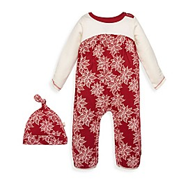Burt's Bees Baby® 2-Piece Poinsettia Organic Cotton Jumpsuit and Hat Set