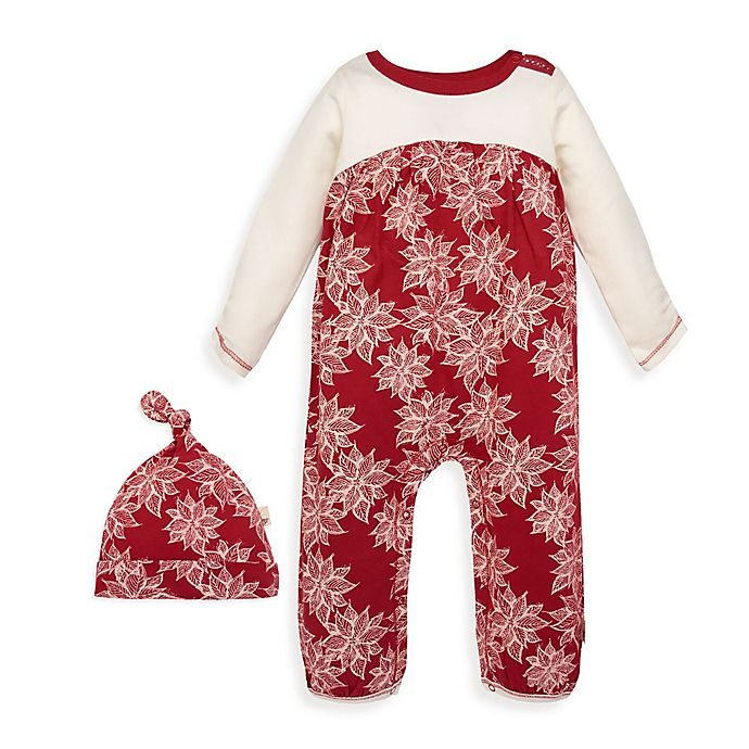 Alternate image 1 for Burt's Bees Baby® 2-Piece Poinsettia Organic Cotton Jumpsuit and Hat Set