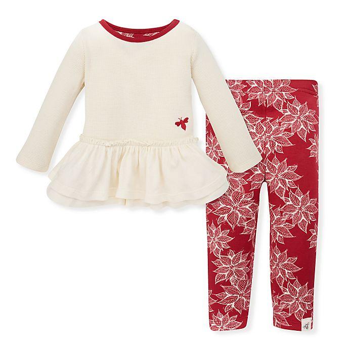 Alternate image 1 for Burt's Bees Baby® Snowflake Thermal Ruffled Tunic and Legging Set