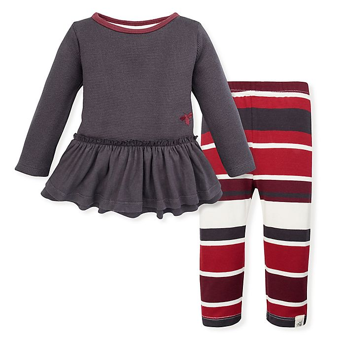 Alternate image 1 for Burt's Bees Baby® Striped Thermal Ruffled Tunic and Legging Set in Zinc
