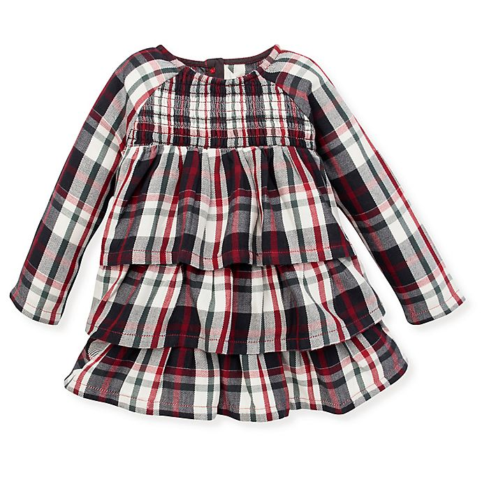 Alternate image 1 for Burt's Bees Baby® Twill Plaid Tiered Ruffle Dress in Zinc