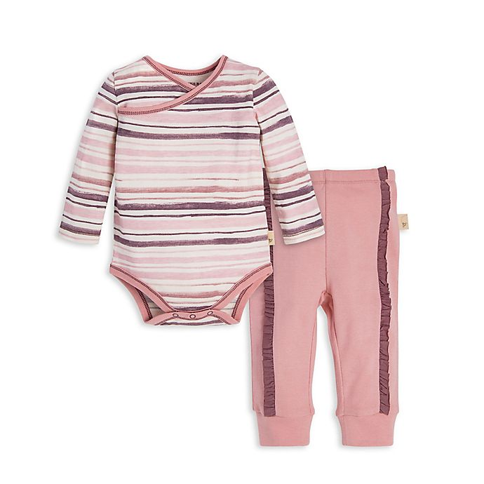 Alternate image 1 for Burt's Bees Baby® Preemie 2-Piece Striped Organic Cotton Bodysuit and Pant Set