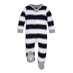 Burt's Bees Baby® Size 3-6M Rugby Peace Stripe Footie in Blue