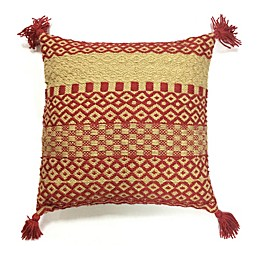 Destination Summer Woven Diamond Square Outdoor Throw Pillow in Red