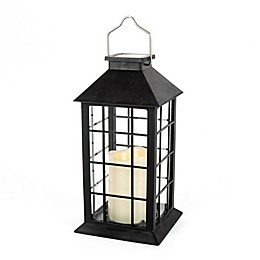 Outdoor 11-Inch Solar LED Lantern in Black