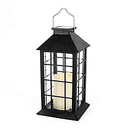 Outdoor 11-Inch Solar LED Lantern in Black