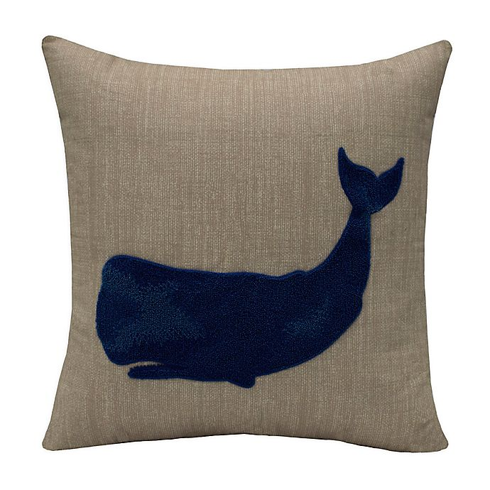 Alternate image 1 for Destination Summer Whale Square Indoor/Outdoor Throw Pillow in Blue