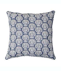 Cojín decorativo cuadrado Destination Summer Seashell para interiores/exteriores en gris
