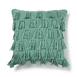 Fringe Square Indoor/Outdoor Throw Pillow in Teal