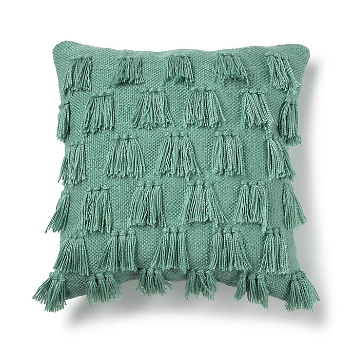 Alternate image 1 for Destination Summer Fringe Square Indoor/Outdoor Throw Pillow in Teal