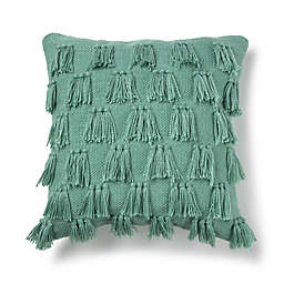 Destination Summer Fringe Square Indoor/Outdoor Throw Pillow in Teal