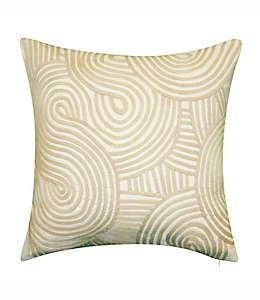 Cojín decorativo cuadrado con espirales bordados para interiores/exteriores en natural