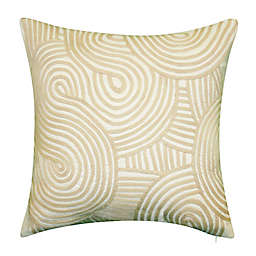 Embroidered Swirl Square Indoor/Outdoor Throw Pillow in Natural
