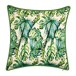 Nature Leaf Square Indoor/Outdoor Throw Pillow in Ivory