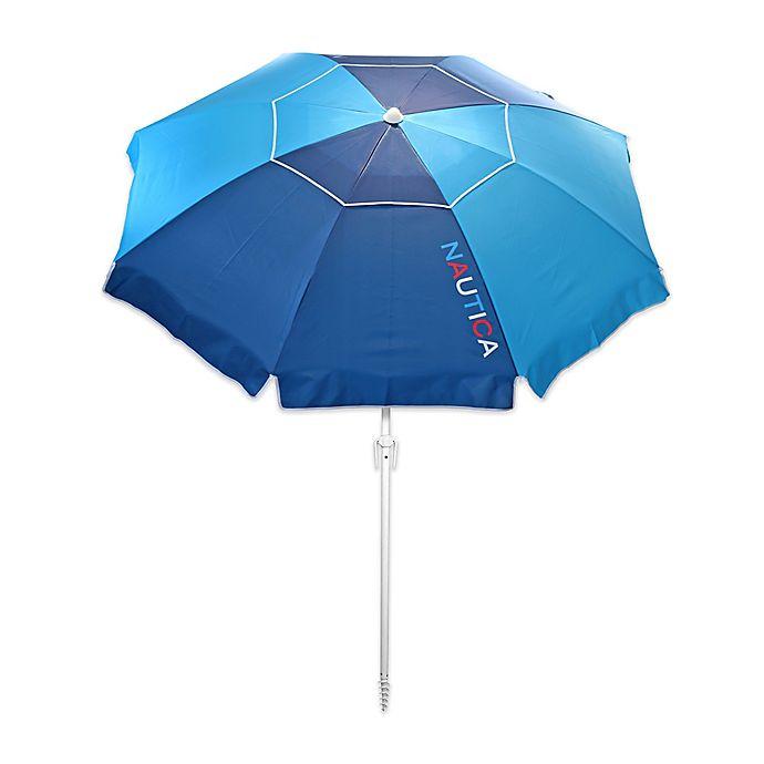 Alternate image 1 for Nautica® 7-Foot Logo Beach Umbrella in Navy