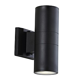 JONATHAN Y Duo Cylinder Outdoor Sconce Light in Black
