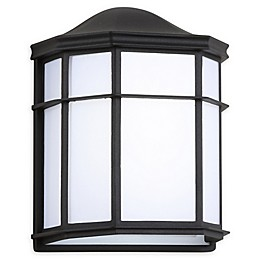 JONATHAN Y Henry Outdoor Frosted Sconce Light in Black