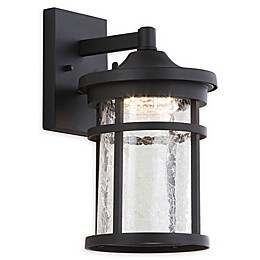 JONATHAN Y Campo Outdoor Wall Lantern Sconce Light in Black with Glass Shade