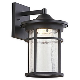 JONATHAN Y Porto Outdoor Wall Lantern Sconce Light in Black with Glass Shade