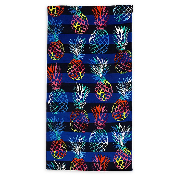 Alternate image 1 for Destination Summer Rainbow Pineapples Beach Towel
