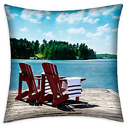Destination Summer Lake Scene Square Indoor/Outdoor Throw Pillow