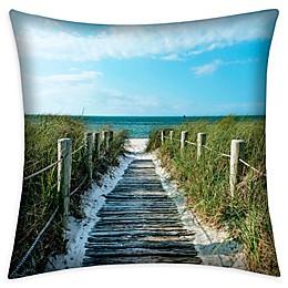Destination Summer Coastal Scene Square Indoor/Outdoor Throw Pillow
