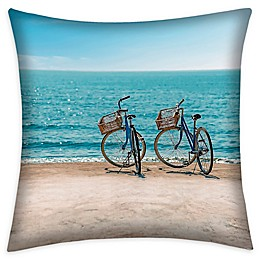 Destination Summer Beach Bikes Square Indoor/Outdoor Throw Pillow