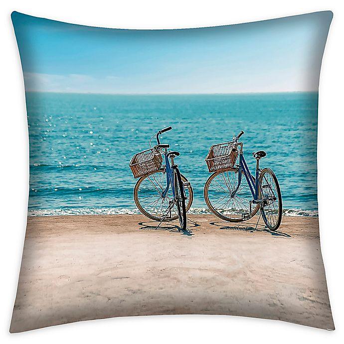 Alternate image 1 for Destination Summer Beach Bikes Square Indoor/Outdoor Throw Pillow