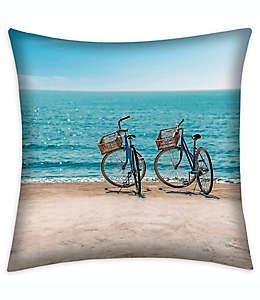 Cojín decorativo cuadrado Destination Summer Beach Bikes para interiores/exteriores