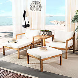 Safavieh Pratia 5-Piece Acacia Wood Outdoor Conversation Set in Natural/Beige