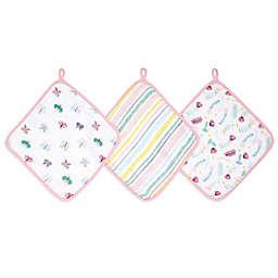 aden + anais™ essentials Floral Fauna 3-Pack Muslin Washcloth in Pink