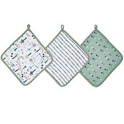 aden + anais™ essentials Dinotime 3-Pack Muslin Washcloths in Green