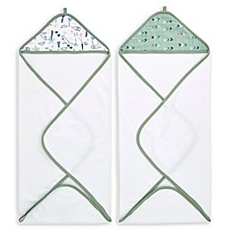 aden + anais™ essentials Dinotime 2-Pack Hooded Towels in Green