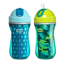 Chicco® 2-Pack 9 oz. Insulated Flip-Top Straw Sippy Cups in Blue/Teal